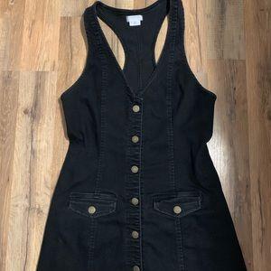 Destroyed black button up dress